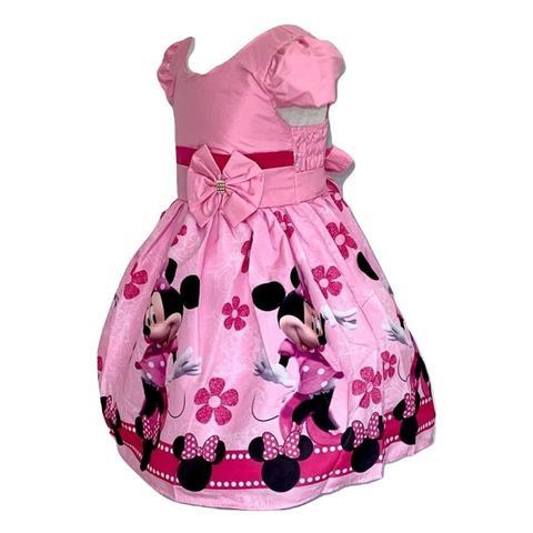 Imagem de Vestido Temático Minnie Flores Rosa