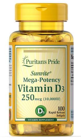 Imagem de Vitamina D3 10.000 Ui 250mcg  100 Softgels - Puritan's Pride