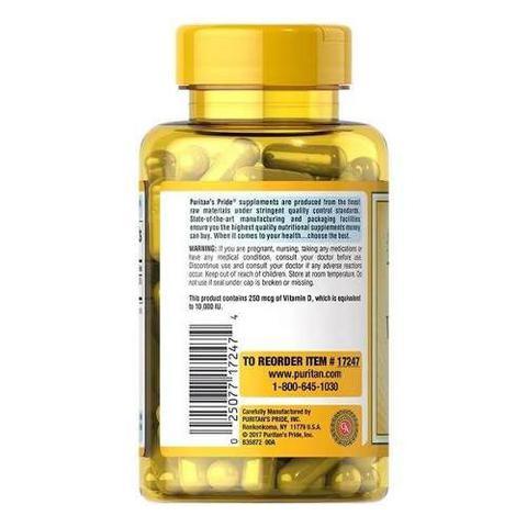 Imagem de Vitamina D3 10.000iu 250mcg Puritans Pride - 200 Cápsulas