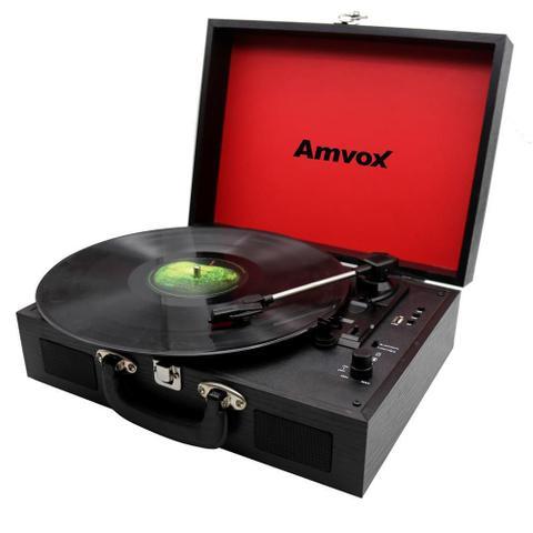 Imagem de Vitrola Amvox Case em Madeira USB 10W AVT1199 Preta Bivolt