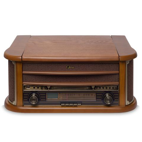 Imagem de Vitrola Raveo Ópera BT - Toca-Discos, CD Player, Bluetooth, Radio FM, Fita Cassete