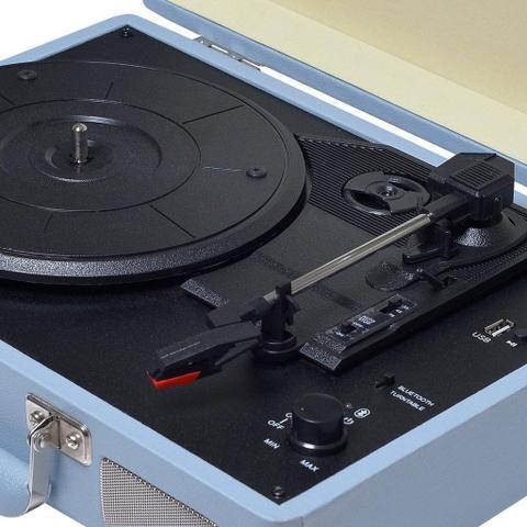 Imagem de Vitrola Toca Discos Vinil Bluetooth Usb Auxiliar Reproduz E Grava Em Mp3 Azul Bivolt Sonetto Chrome Retrô 10 Watts Raveo