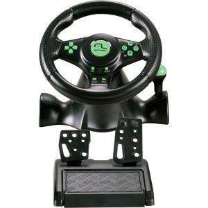 Imagem de Volante 4 em 1 XBOX 360/PS3/PS2/PC com Marcha Acoplada JS075 Preto e Verde Multilaser