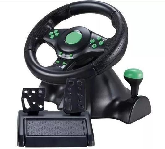 Imagem de Volante De Vibração Gamer Com Pedais e Cambio Preto Giro 180º Knup KP-5815A