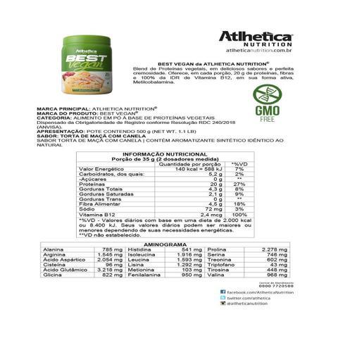 Imagem de Whey Protein Best Vegan 500g - Atlhetica Nutrition