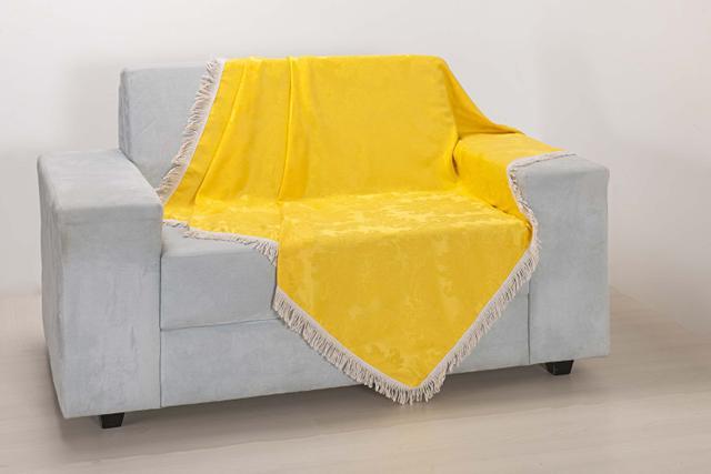 Imagem de Xale de Sofá Decoração Sala Tecido Jacquard 1,50 X 1,50 Amarelo