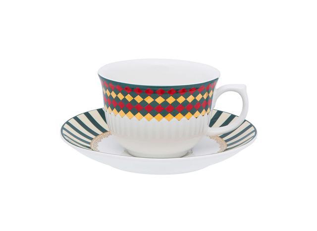 Imagem de Xícara Chá Porcelana com Pires 200 ml Flamingo São Basílio Oxford - OXF 132