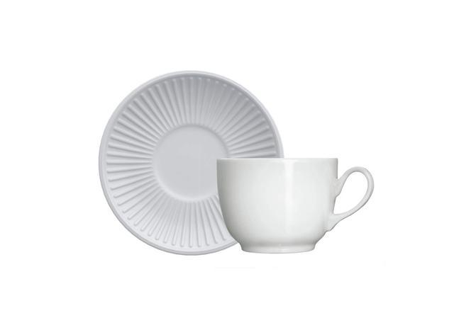 Imagem de Xícara Chá Porcelana com Pires 240 ml Branca Lines Germer - GMR 049