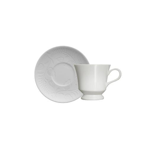 Imagem de xícara para café em porcelana Germer Folk branca