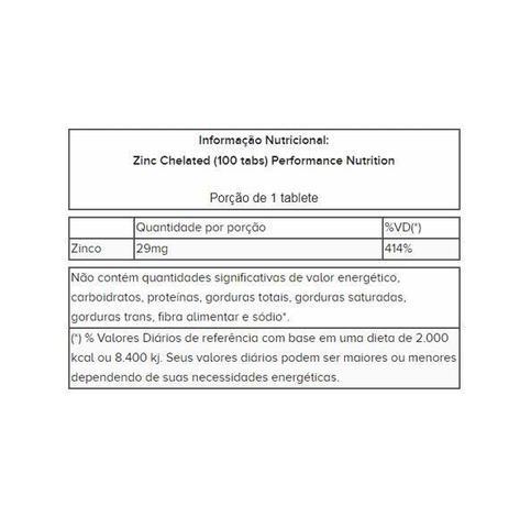 Imagem de Zinc Chelated Zinco Quelato 100 tabletes Performance Nutrition