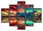 Imagem de Quadro Mosaico 5 Partes  Sunset Moldura Preta Art e Cia